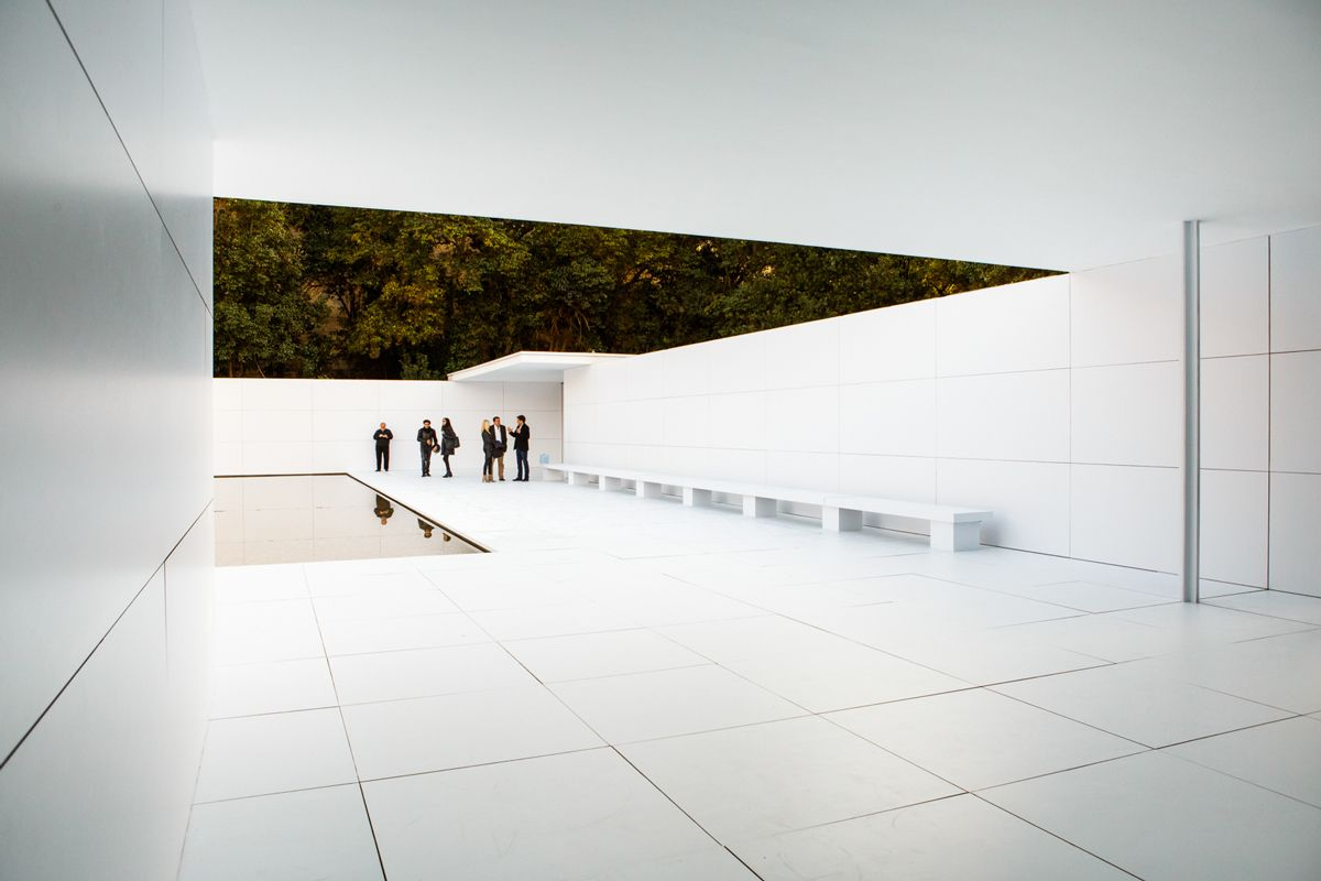 The Barcelona Pavilion, designed by Ludwig Mies van der Rohe