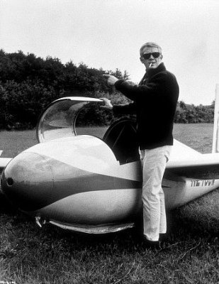 Steve McQueen Buckled INTO Airplane Glider
