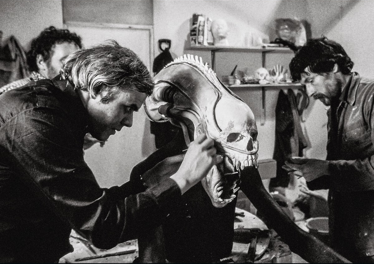 H. R. Giger works on the Alien with Peter Voysey