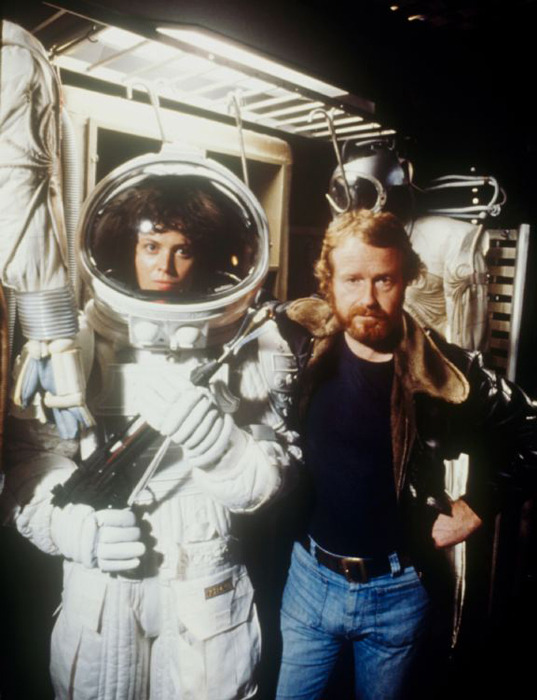 Sigourney Weaver and Ridley Scott take a break during filming of the final scene from Alien