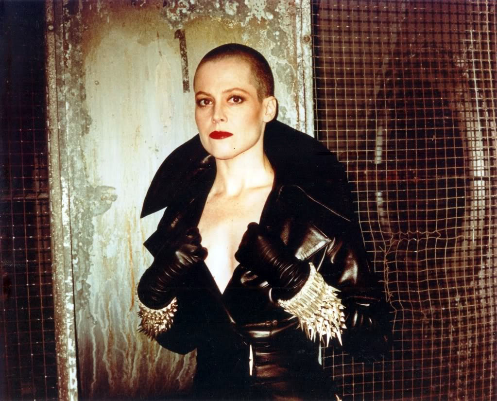 sigourney Weaver with shaved head for alien