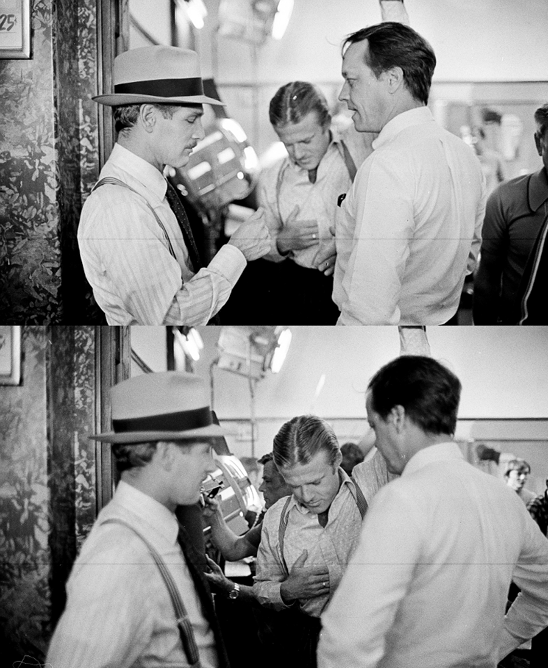Paul Newman, Robert Redford and George Roy Hill on the set of The Sting