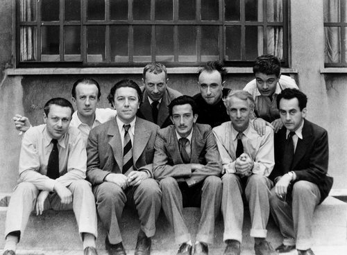 The Surrealists Tristan Tzara, Paul Eluard, André Breton, Hans Arp & Salvador Dalí