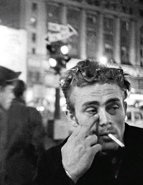 James Dean photographed by Dennis Stock in New York City, 1955