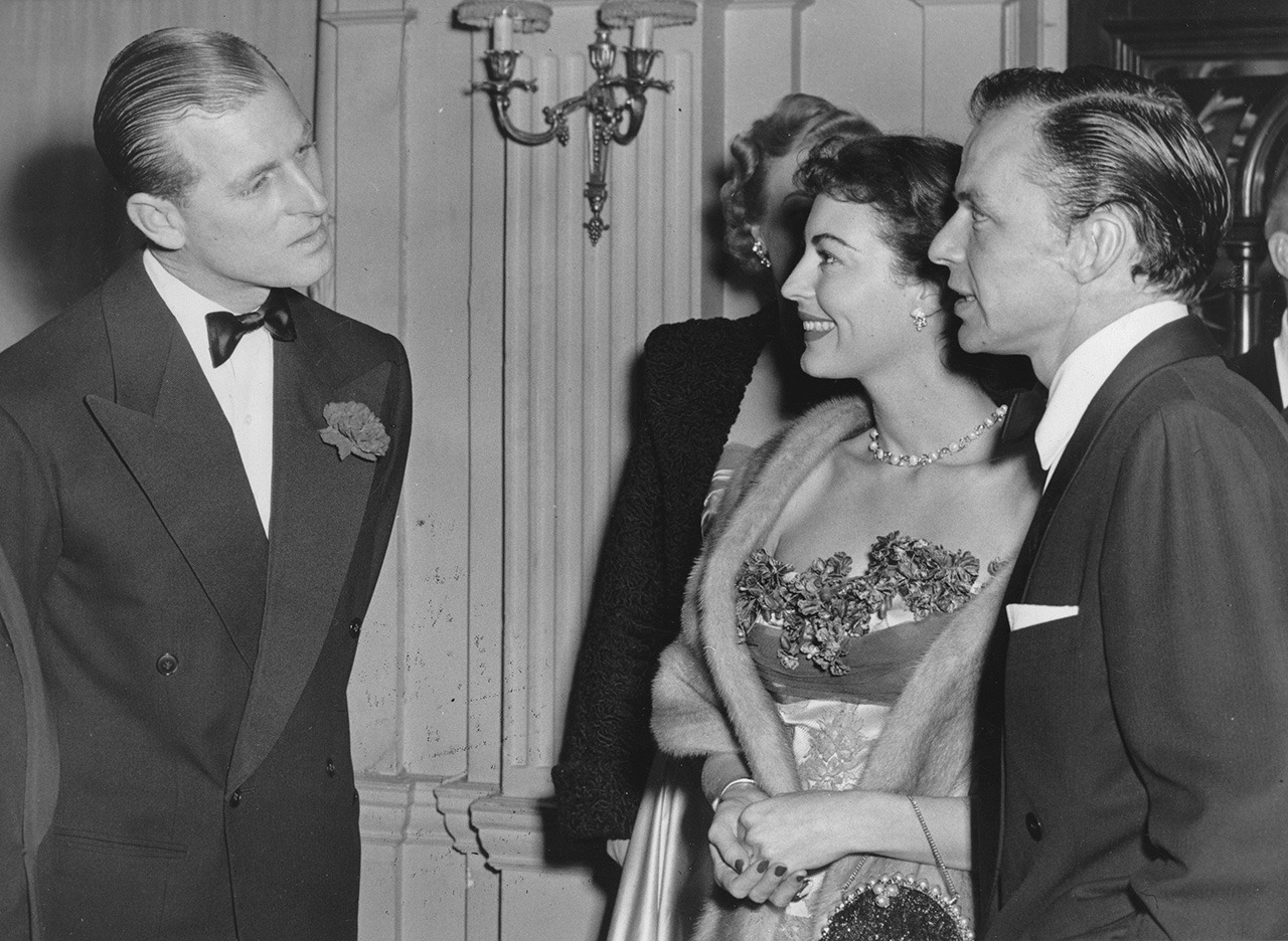 Prince Philip, with Ava Gardner and Frank Sinatra