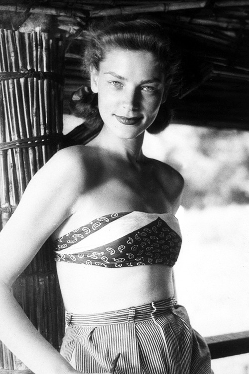 Lauren Bacall on the set of The African Queen (1951)