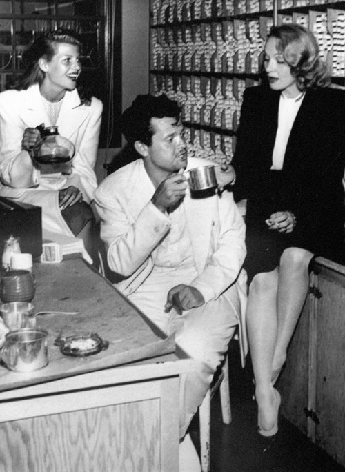 Rita Hayworth, Orson Welles and Marlene Dietrich