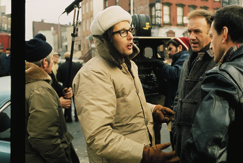 William Friedkin with Gene Hackman and Roy Scheider behind the scenes of The French Connection