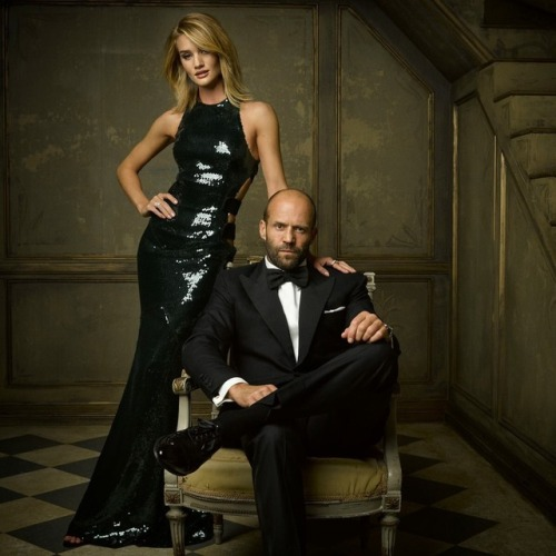 Jason Statham wearing a Tom Ford Tuxedo with his wife Rosie Huntington-Whiteley