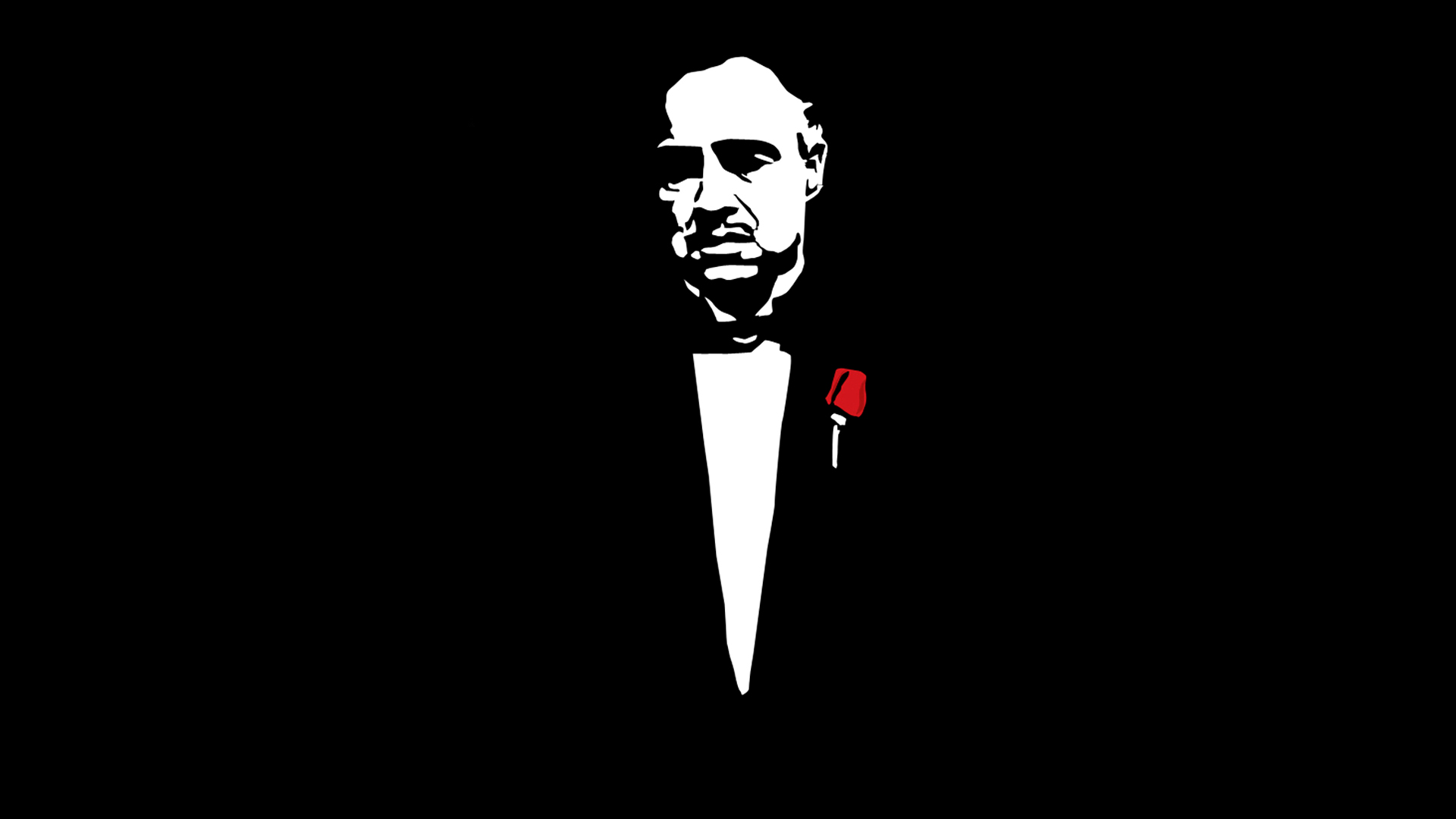 the godfather poster in bw with red rose