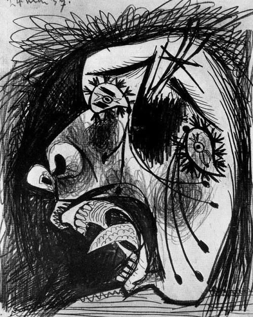 Pablo picasso     Head of crying woman