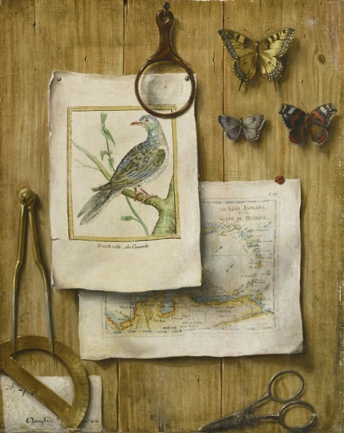 A trompe l'oeil with magnifying glass