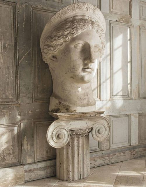 An oversized plaster bust of Juno Ludovisi