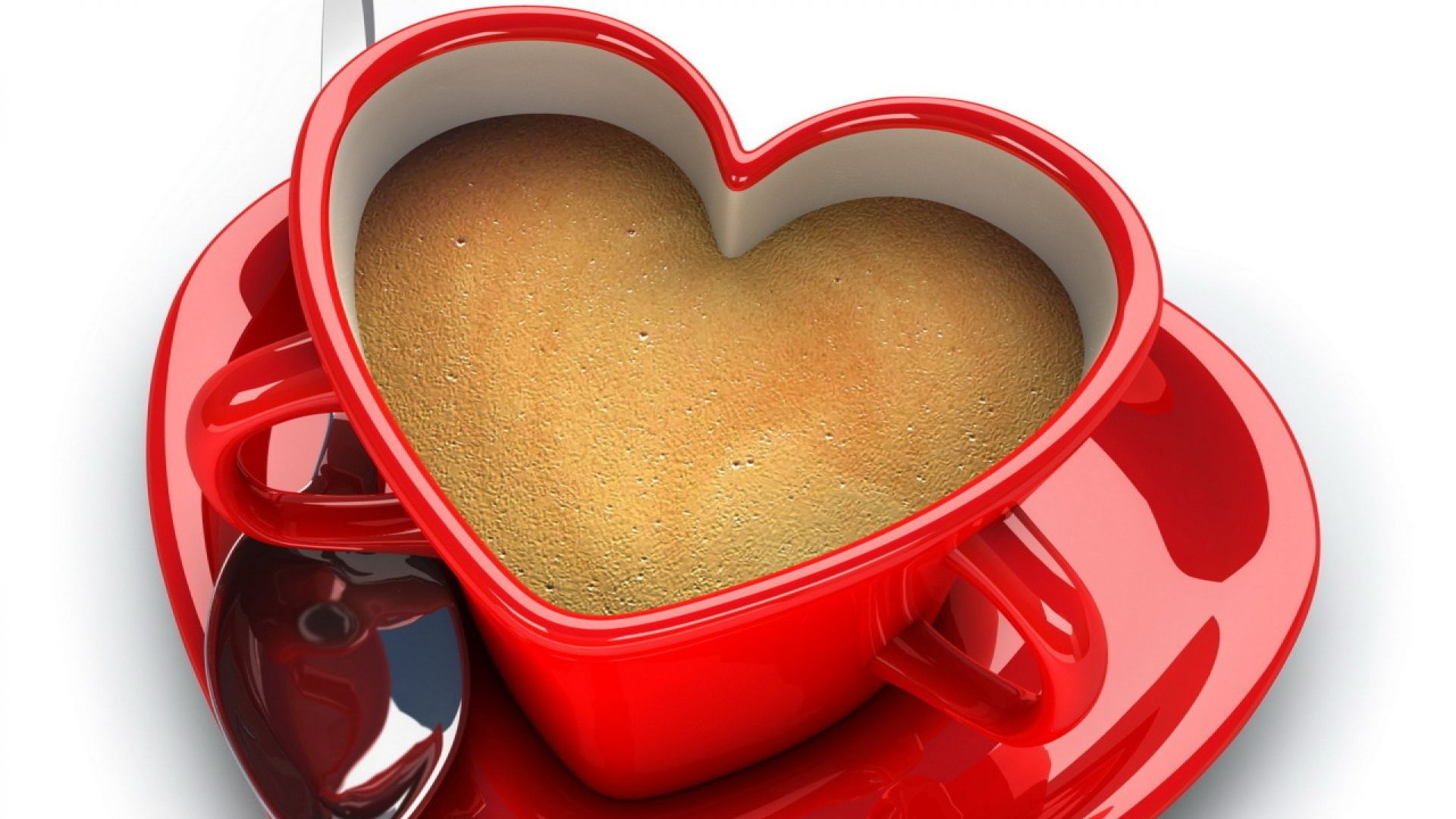 heart shaped coffee cup in red