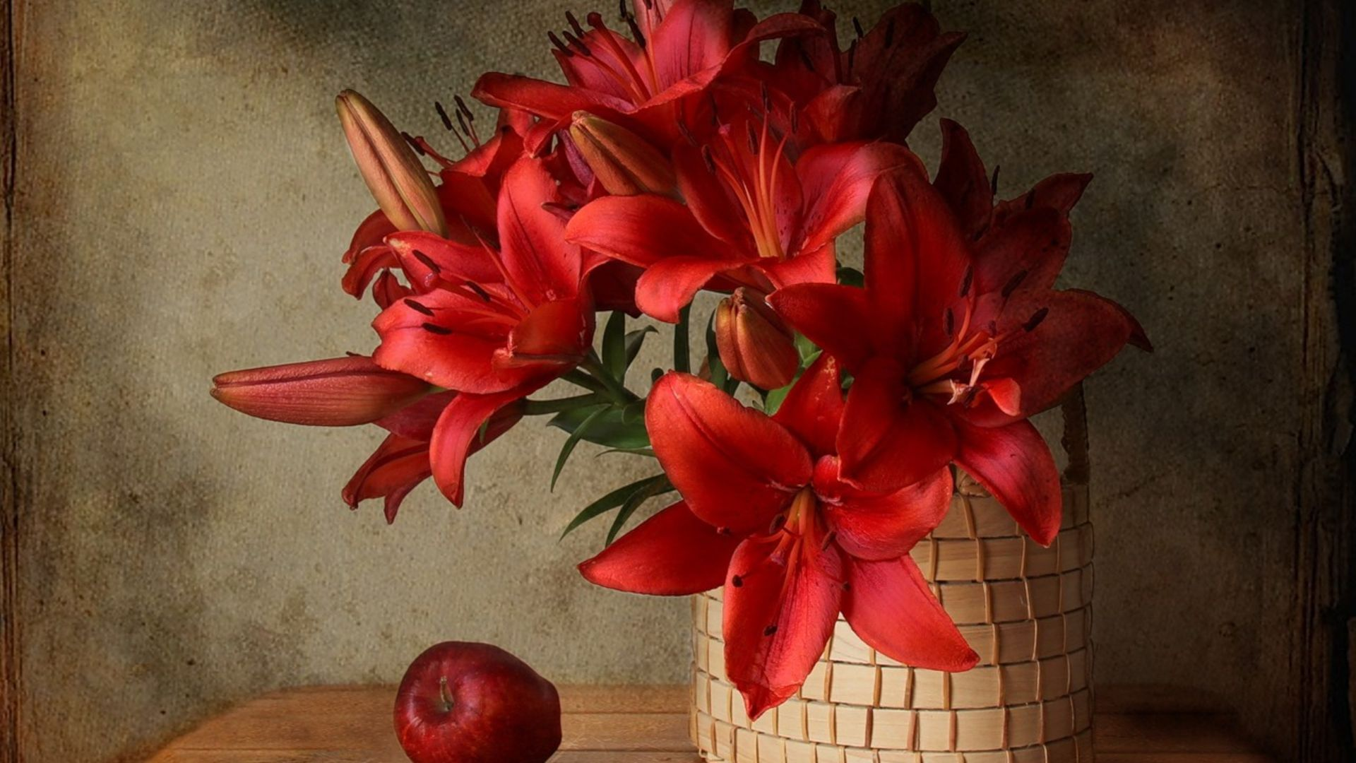 still life in red with tulips
