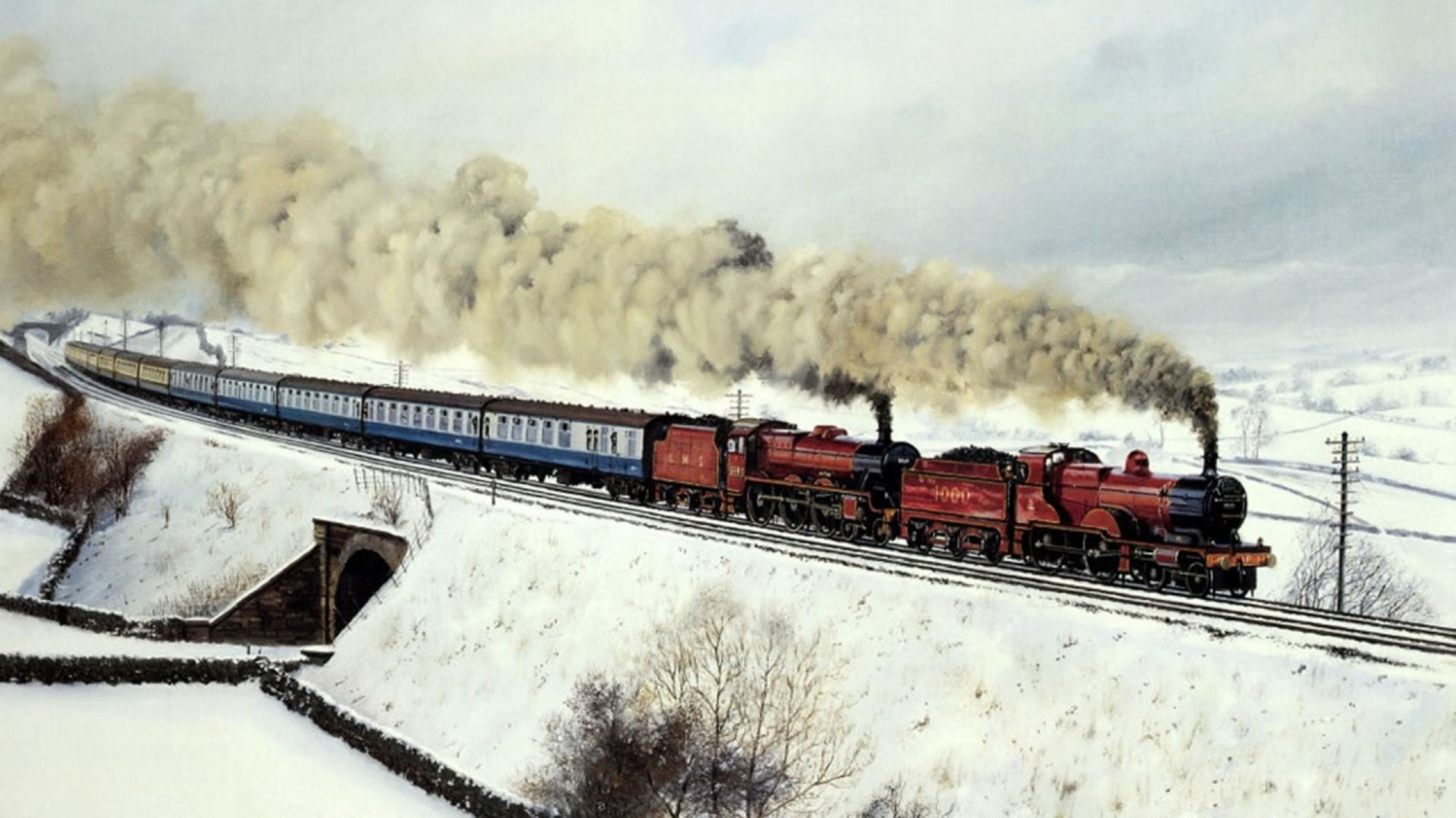 train in snow painting
