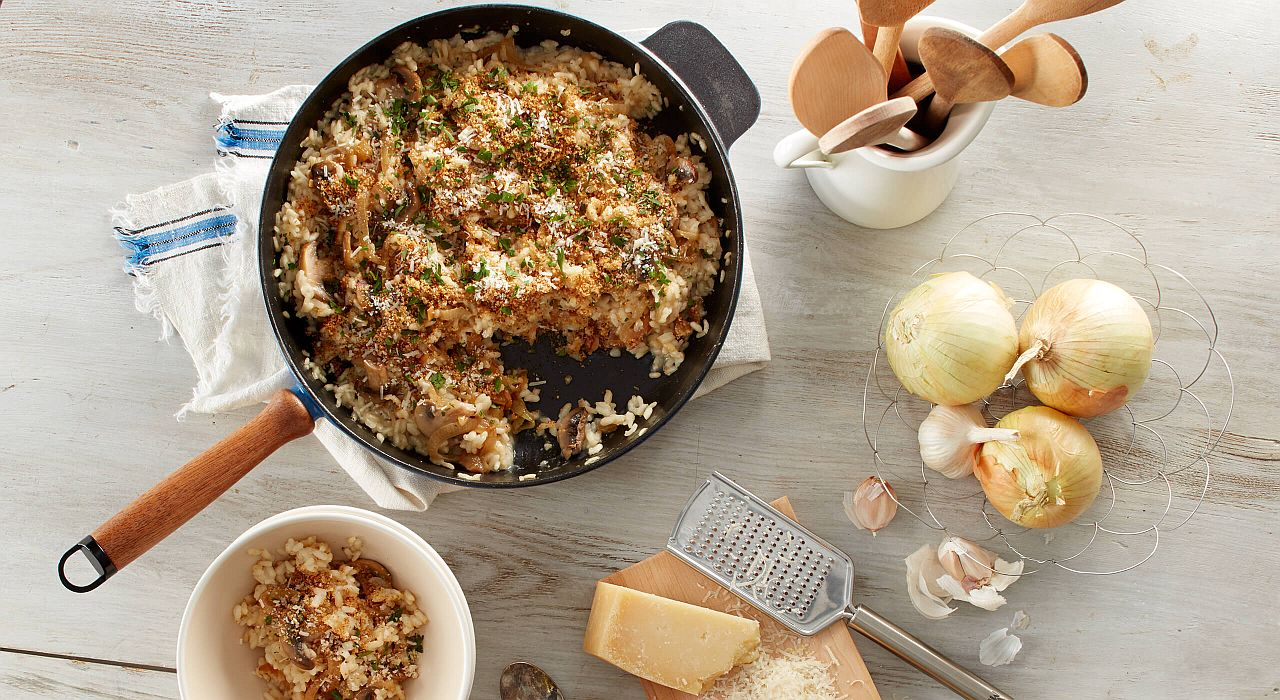 mushroom risotto with caramelized onions