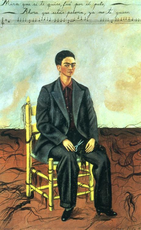 Self Portrait with Cropped Hair, Frida kahlo