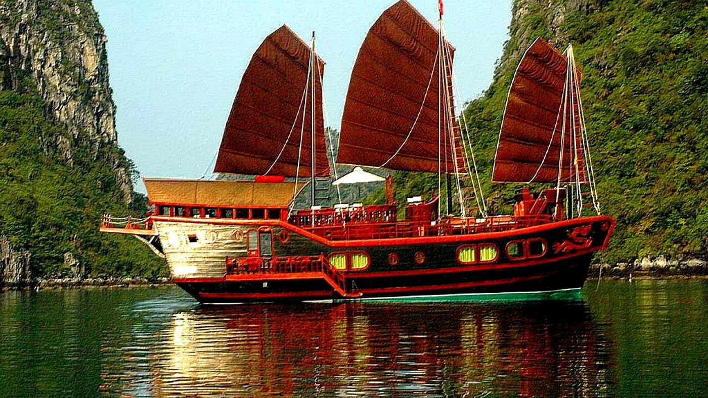 Red Dragon Junk red sailing ship