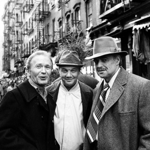 Red Buttons, Mario Puzo and Marlon Brando at The Godfather