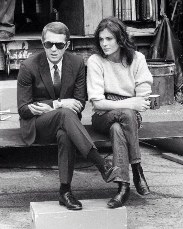 Steve, McQueen #Jacqueline Bisset during the filming of #Bullitt directed by #Peter Yates
