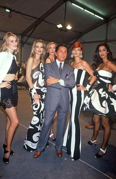 Claudia, Karen, Tatjana, Linda and Yasmeen with Valentino
