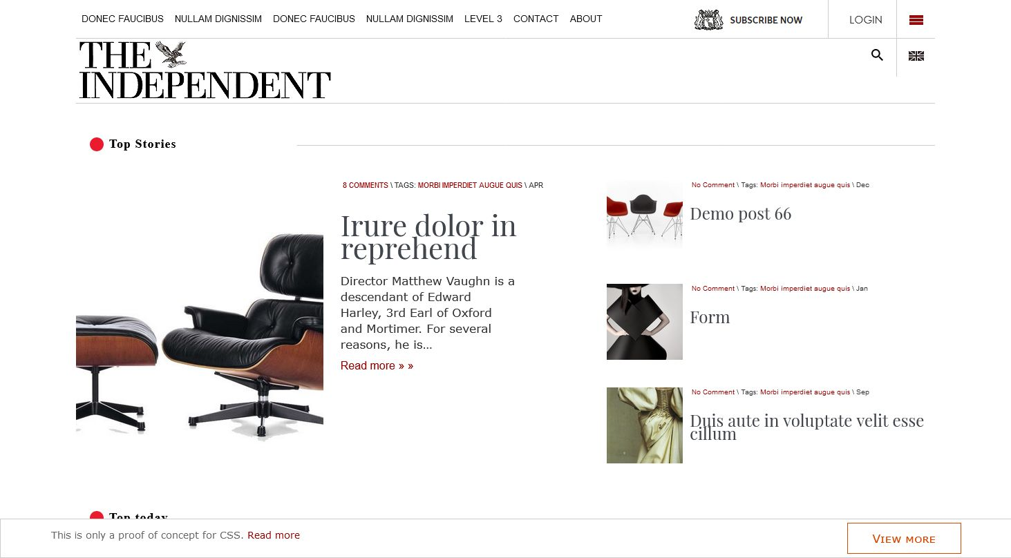 Independent red style wordpress theme