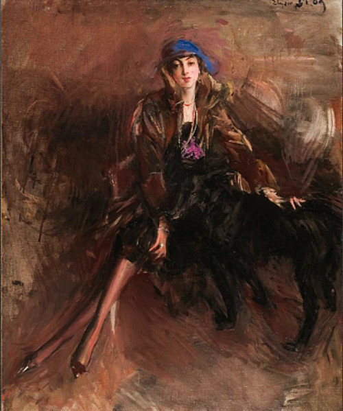 Lady with Black Greyhound