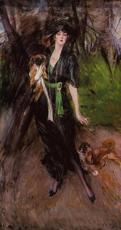 Portrait of a Lady Lina Bilitis with Two Pekinese