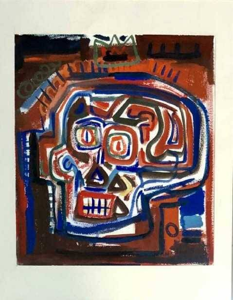 """Untitled""  Jean-Michel Basquiat mixed media on paper"